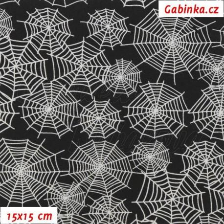 Látka softshell - 10000/3000, Bílé pavučiny na černé, 15x15 cm