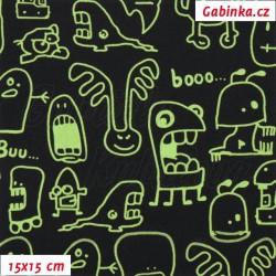 Zimní softshell - Strašidýlka zelená na černé, šíře 150 cm, 10 cm