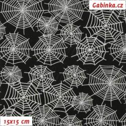 Teplákovina s EL - Bílé pavučiny na černé, II. jakost, šíře 180 cm , 10 cm, ATEST 1