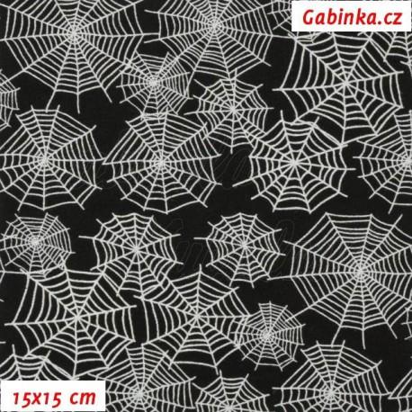 Teplákovina s EL - Bílé pavučiny na černé, 15x15 cm