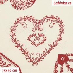 Plátno - Krajkovaná srdíčka červená na smetanové, 15x15 cm