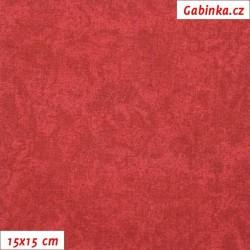 Vánoční látka - jemný vínový batikový potisk, 15x15 cm