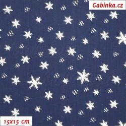 Vánoční látka - Stříbrné hvězdičky na tm. modré, 15x15 cm