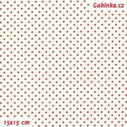 Plátno - Puntíky 2 mm červené na bílé, šíře 150 cm, 10 cm