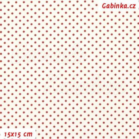 Plátno - Kolekce bordó, Puntíky 2 cm bordó na smetanové, 15x15 cm