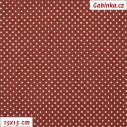 Plátno - Kolekce bordó, puntíky 2 mm smetanové na bordó, šíře 150 cm, 10 cm