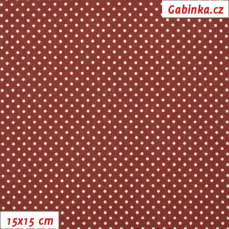Plátno - Kolekce bordó, puntíky 2 mm smetanové na bordó, 15x15 cm