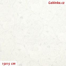 Plátno vánoční - Stříbrná kolekce - Stříbrné ornamenty na bílé, šíře 140 cm, 10 cm