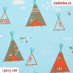 Plátno - Indiánská teepee na modré, šíře 160 cm, 10 cm