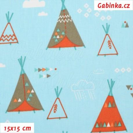 Plátno - Indiánská teepee na modré, 15x15 cm