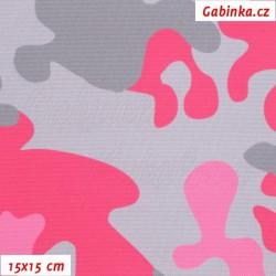 Kočárkovina Primax - Maskáč růžový a šedý, šíře 158 cm, 10 cm