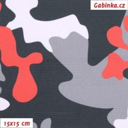 Kočárkovina Primax - Maskáč červený bílý šedý a černý, šíře 158 cm, 10 cm