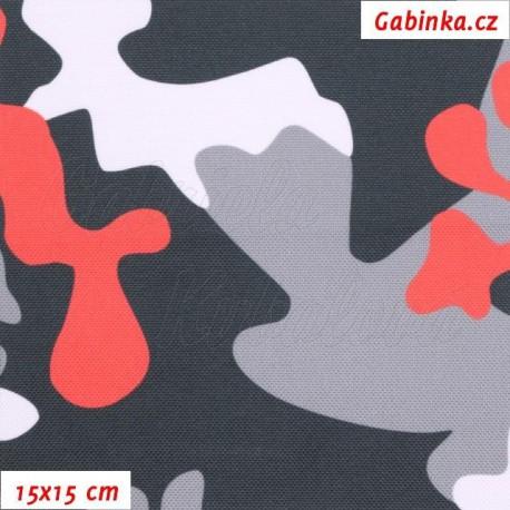Šusťák - Primax Maskáč červený bílý šedý a černý, šíře 158 cm, 10 cm