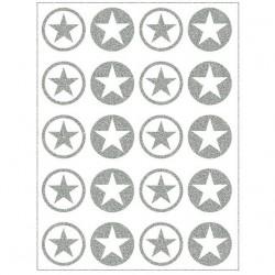 Reflexní nažehlovací potisk - Hvězdičky v kolečku malé MIX III (10+10 ks)