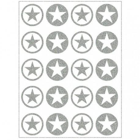 Reflexní nažehlovací potisk, Hvězdičky v kolečku malé MIX III