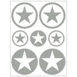 Reflexní nažehlovací potisk - Hvězdičky v kolečku malé a střední MIX II (4+3 ks)