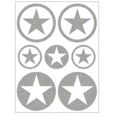 Reflexní nažehlovací potisk, Hvězdičky v kolečku malé a střední MIX II