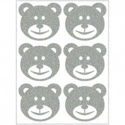 Reflexní nažehlovací potisk - Medvídci - hlavy velké (6 ks)