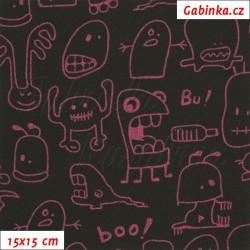 Zimní softshell - Strašidýlka fialovorůžová na černé, šíře 150 cm, 10 cm