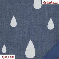 Látka softshell - Bílé kapky na jeans, 15x15 cm