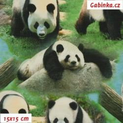Úplet s EL Digitální tisk - Pandy na travičce, ATEST 2, šíře 160 cm, 10 cm