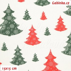 Vánoční látka - Stromečky zelené a červené na bílé, 15x15 cm