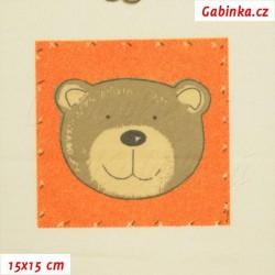 Látka, flanel - Medvídci v oranžových čtvercích na smetanové, šíře 155 cm, 10 cm