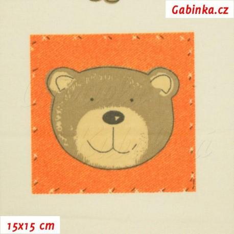 Látka, flanel - Medvídci v oranžových čtvercích na smetanové, 15x15 cm