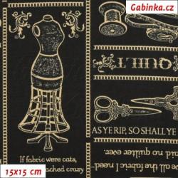 Plátno USA - Quilting Treasures - Krejčovské potřeby zlaté na černé, 15x15 cm