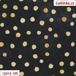 Kočárkovina Premium - Puntíky MAGIC zlaté na půlnoční černé, batika, šíře 160 cm, 10 cm, ATEST 1
