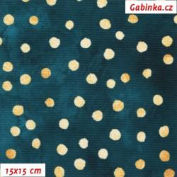 Kočárkovina Premium - Puntíky MAGIC zlaté na smaragdovém nebi, batika, šíře 160 cm, 10 cm