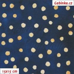 Kočárkovina Premium - Puntíky MAGIC zlaté na temně modrém nebi, batika, šíře 160 cm, 10 cm