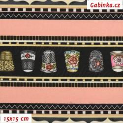 Plátno USA - Quilting Treasures - Thimble Pleasures - Šicí stroje a náprstky na růžových pruzích, náprstky