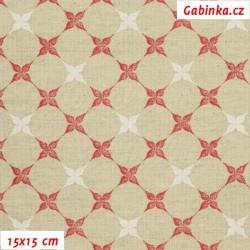 Režné plátno - Bílé a červené kytičky ve čtvercích, šíře 140 cm, 10 cm