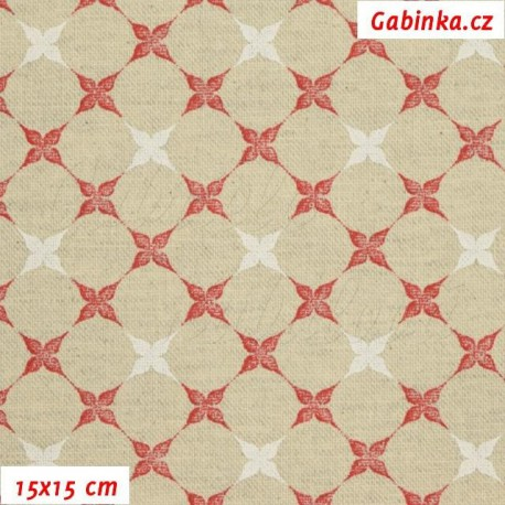 Režné plátno - Bílé a červené kytičky ve čtvercích, 15x15 cm