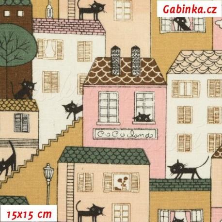 Režné plátno - Barevné domečky s kočkami, 15x15 cm