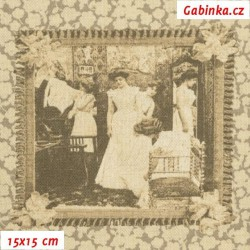 E - Režné plátno - Staré dopisní známky, šíře 140 cm, 10 cm