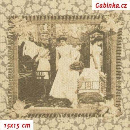 Režné plátno - Staré dopisní známky, 15x15 cm