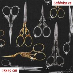 Plátno USA - Quilting Treasures - Thimble Pleasures - Krejčovské nůžky na černé, 15x15 cm