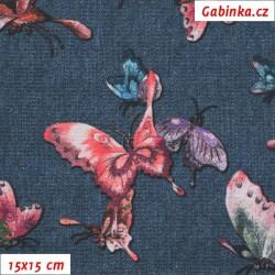Kočárkovina Premium - Růžoví, fialoví a modří motýli na jeans, šíře 155 cm, 10 cm, ATEST 1