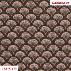 Látka, plátno - DOUCET oranžovofialové, 15x15 cm