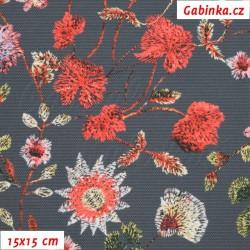 Kočárkovina Premium - Květiny LUXURY na šedé, šíře 160 cm, 10 cm