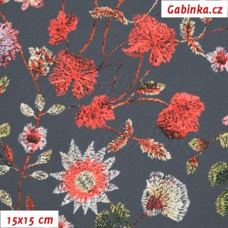 Kočárkovina Premium - Květiny LUXURY na šedé, 15x15 cm