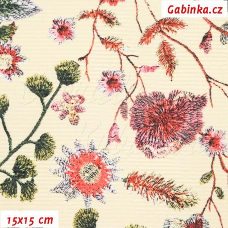 Kočárkovina Premium - Květiny LUXURY na smetanové, 15x15 cm