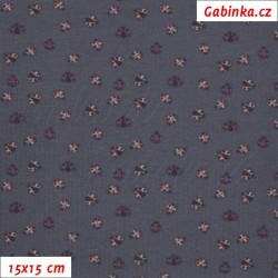 Úplet s EL - Berušky MINI na tmavé fialověšedé, šíře 150 cm, 10 cm