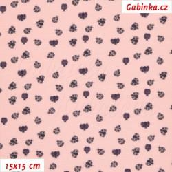Úplet s EL - Berušky MINI na růžové, šíře 150 cm, 10 cm