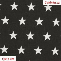 Plátno - Hvězdičky 2 cm bílé na černé, šíře 160 cm, 10 cm