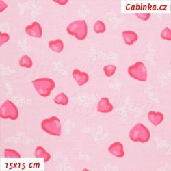 Plátno - Růžová srdíčka na sv. růžové, šíře 155 cm, 10 cm