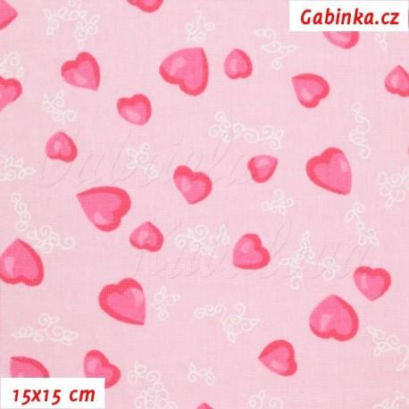 Látka plátno - Růžová srdíčka na sv. růžové, 15x15 cm