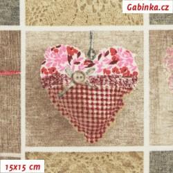 Režné plátno - Loneta - Srdíčka růžová, šíře 138 cm, 10 cm